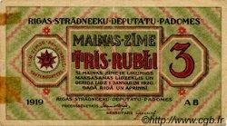 3 Rubli LETTONIE  1919 P.R2a TB