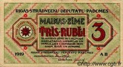3 Rubli LETTONIE  1919 P.R2a TTB
