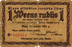 1 Rublis LETTONIE  1919 P.-- B+