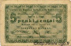 5 Centai LITUANIE  1922 P.02a TB