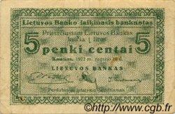 5 Centai LITUANIE  1922 P.02a TB+