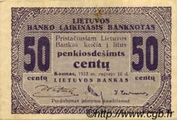 50 Centu LITUANIE  1922 P.04a TTB+