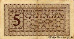 5 Litai LITUANIE  1922 P.06a pr.TTB