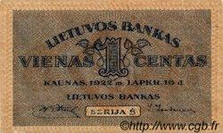 1 Centas LITUANIE  1922 P.07a SPL+