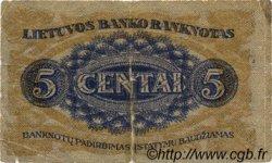 5 Centai LITUANIE  1922 P.09a B+