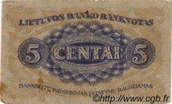 5 Centai LITUANIE  1922 P.09a TB à TTB