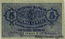 5 Centai LITUANIE  1922 P.09a SPL