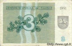 3 Talonas LITUANIE  1991 P.33a TB
