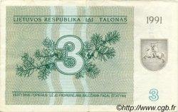 3 Talonas LITUANIE  1991 P.33b TB