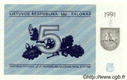 5 Talonas LITUANIE  1991 P.34b NEUF