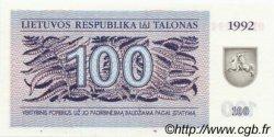 100 Talonas LITUANIE  1992 P.42 NEUF