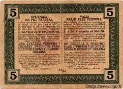 5 Perpera MONTENEGRO  1917 P.M.150 pr.TTB