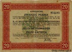 20 Perpera MONTENEGRO  1917 P.M.152 TB à TTB
