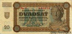 20 Korun SLOVAQUIE  1942 P.07a TTB+