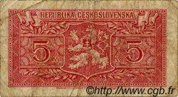 5 Korun TCHÉCOSLOVAQUIE  1945 P.059a B