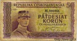 50 Korun TCHÉCOSLOVAQUIE  1945 P.062a TB
