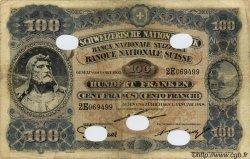 100 Francs SUISSE  1918 P.09s TB