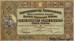 5 Francs SUISSE  1914 P.11b TTB+ à SUP