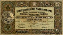 5 Francs SUISSE  1921 P.11e TTB