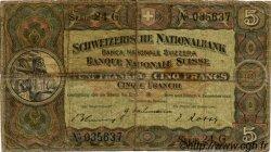 5 Francs SUISSE  1942 P.11j B+