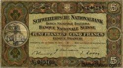 5 Francs SUISSE  1944 P.11k TB