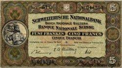 5 Francs SUISSE  1951 P.11o TB+