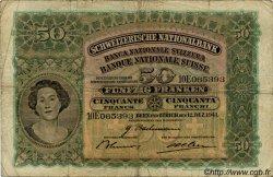 50 Francs SUISSE  1941 P.34l B+