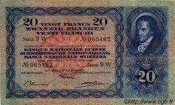 20 Francs SUISSE  1938 P.39g TTB