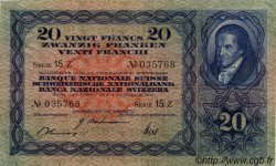 20 Francs SUISSE  1942 P.39l TTB+