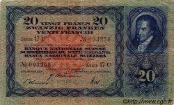 20 Francs SUISSE  1944 P.39m TTB