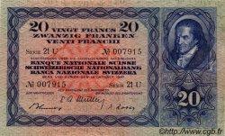 20 Francs SUISSE  1947 P.39p SUP à SPL