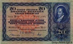 20 Francs SUISSE  1950 P.39r TTB+ à SUP