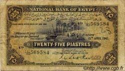 25 Piastres ÉGYPTE  1947 P.010d B+