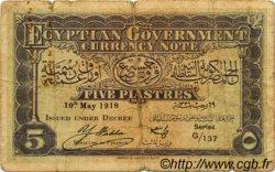 5 Piastres ÉGYPTE  1918 P.161 B