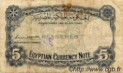 5 Piastres ÉGYPTE  1940 P.164 B+