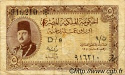5 Piastres ÉGYPTE  1940 P.165a TB