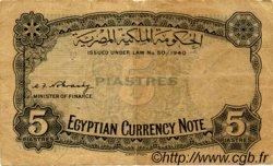 5 Piastres ÉGYPTE  1940 P.165a TB+