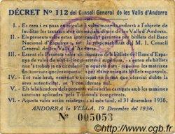 1 Pesseta ANDORRE  1936 P.01 TB+