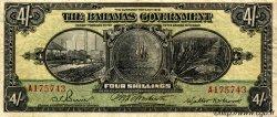 4 Shillings BAHAMAS  1919 P.02b TB