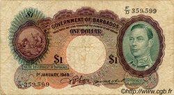 1 Dollar BARBADE  1949 P.02c pr.TB