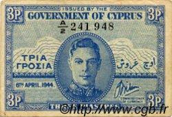 3 Piastres CHYPRE  1944 P.28a TTB