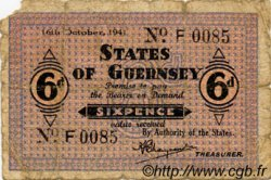 6 Pence GUERNESEY  1941 P.22 B