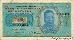20 Francs KATANGA  1960 P.06a TB