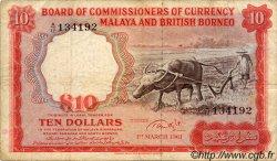 10 Dollars MALAISIE et BORNEO  1961 P.09 TB