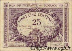 25 Centimes violet MONACO  1920 P.02a TTB