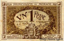 1 Franc MONACO  1920 P.04b TTB