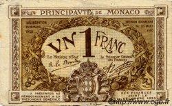 1 Franc MONACO  1920 P.04b TB+