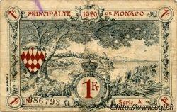 1 Franc MONACO  1920 P.05 TB à TTB