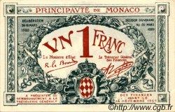 1 Franc MONACO  1920 P.05 SPL+