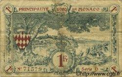 1 Franc MONACO  1920 P.05 TB